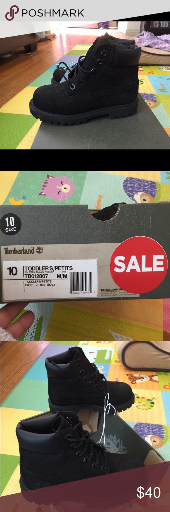 Toddler timberland boots size 10 Toddler timberland boots never worn. Box is a bit messed up. Shoes have regular marks from suede material Timberland Shoes Boots