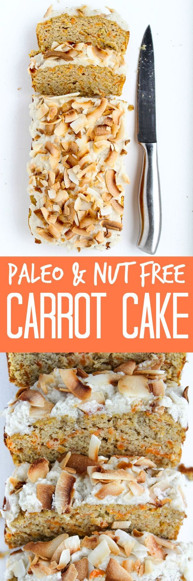 Nut Free Paleo Carrot Cake | A healthier, gluten free and dairy free alternative to carrot cake!  What would you call this? Carrot Cake? Carrot Loaf? Carrot Bread? Carrot Cake Loaf Bread? Is that too