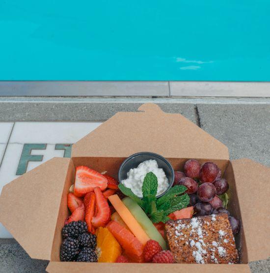 A healthy dip into Acqua Bella's poolside food pyramid!