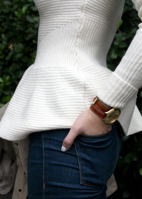 White peplum sweater.