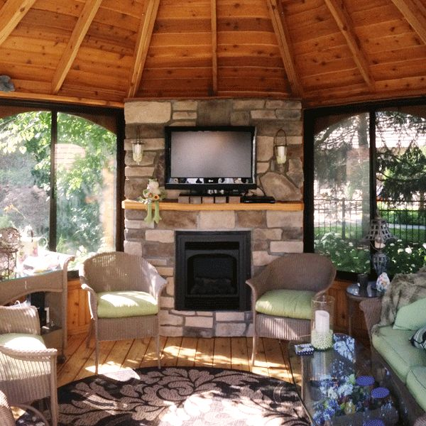 10 best images about gazebo lifestyles fireplaces on for Plans for gazebo with fireplace