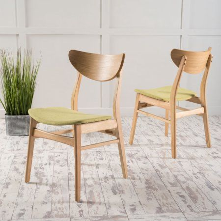 Noble House Ava Green Tea Fabric Dining Chairs (Set of 2)