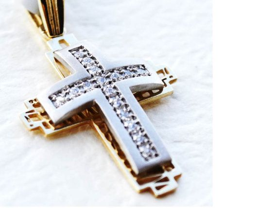 Solid 14K Gold Cross Necklace  14K Yellow and White by KANTILAKI