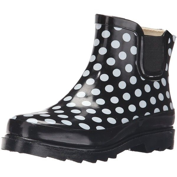 Sunville Womens Short Ankle Rubber Rain Boots ($15) ❤ liked on Polyvore featuring shoes, boots, ankle booties, wellies boots, short wellington boots, short booties, short rain boots and wide booties