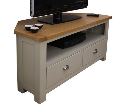 Aspen Painted Sage Grey Oak Corner TV Unit / Oak Corner TV Stand