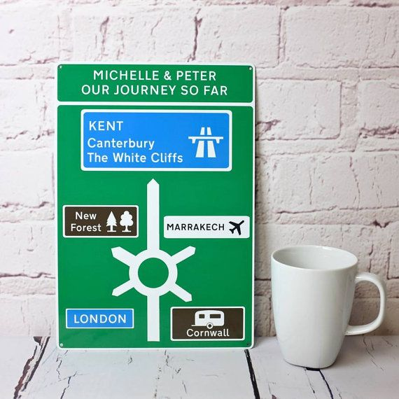 Road Sign - Personalised Metal British Road Sign - Personalized Travel Gift - Printed Metal Street Sign - Tin Anniversary