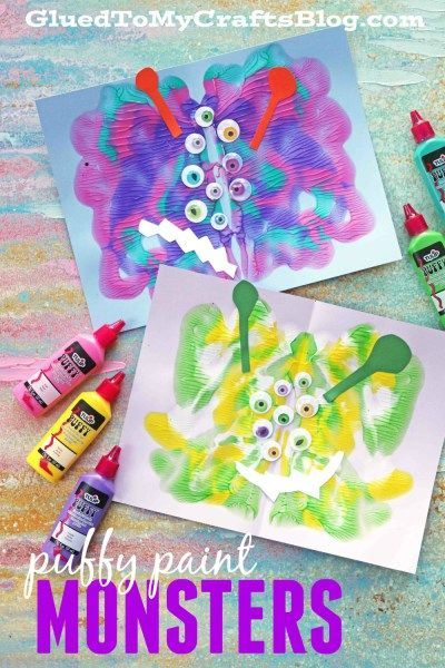 Puffy Paint Splat Monsters - Kid Craft Idea