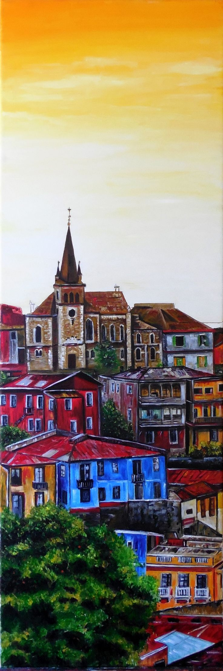 Gisela Villalobos Valparaíso Cuadro ORIGINAL 100 x 50 (aprox) óleo (pintura original, inspirada en fotografía) VENDIDO EL 6/6/2017. FELICITACIONES A GISELA