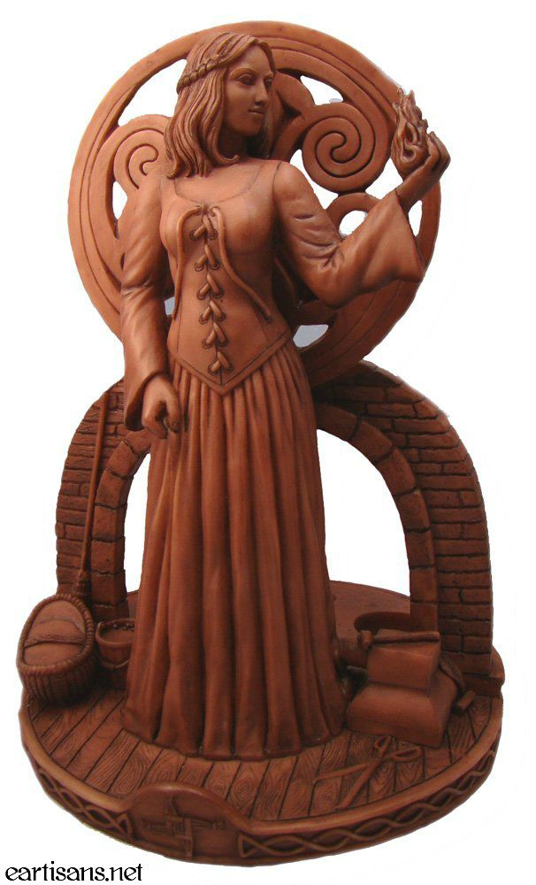 "Beautiful Brigit Statue, New @ Eclectic Artisans. This beautiful goddess statue is quite large, measuring in at 11.5"" Tall and 8.5"" Wide. There are 3 spots in the back of the statue to hold tea-light or votive candles. A beautiful piece for anyone who works with Brigit-The Celtic Goddess of home and hearth, health, fertility. Get yours right here @ Eclectic Artisans"