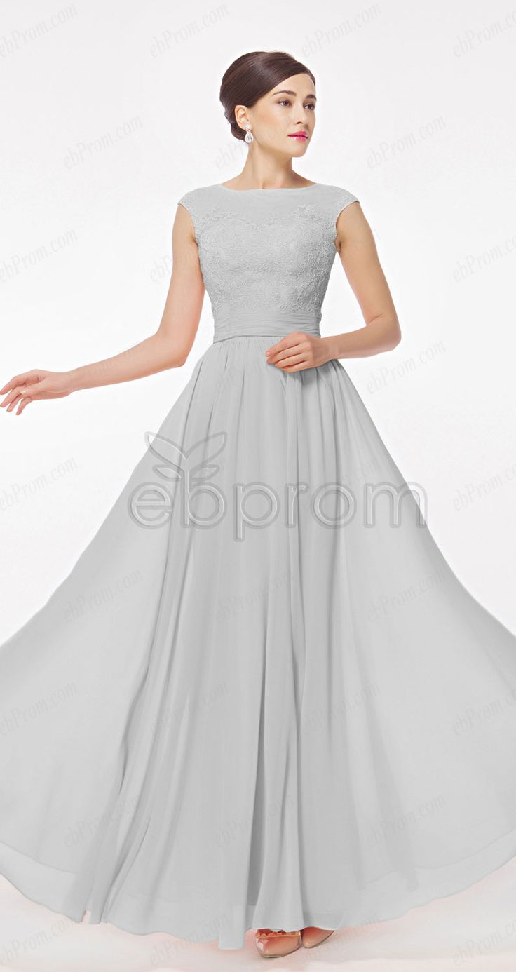Cap Sleeves Grey Chiffon Modest Evening Dresses Long, Bridesmaid Dresses, Prom Dresses from ebprom