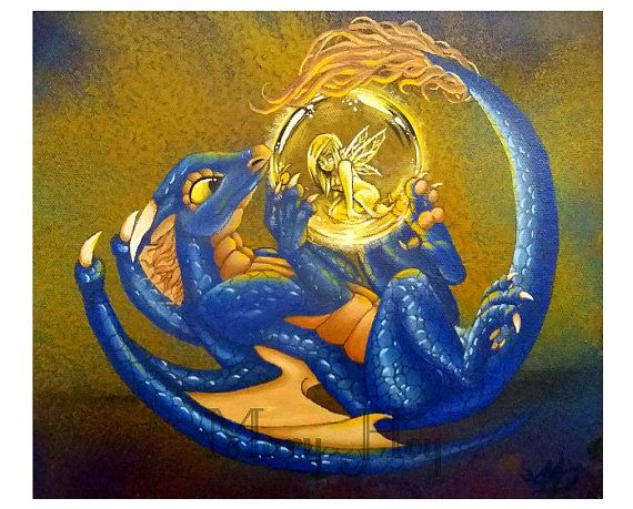 Fairy Orb Dragon  These are prints of my original acrylic paintings.  A high grade matte, photographic paper is used to produce a vibrant image as