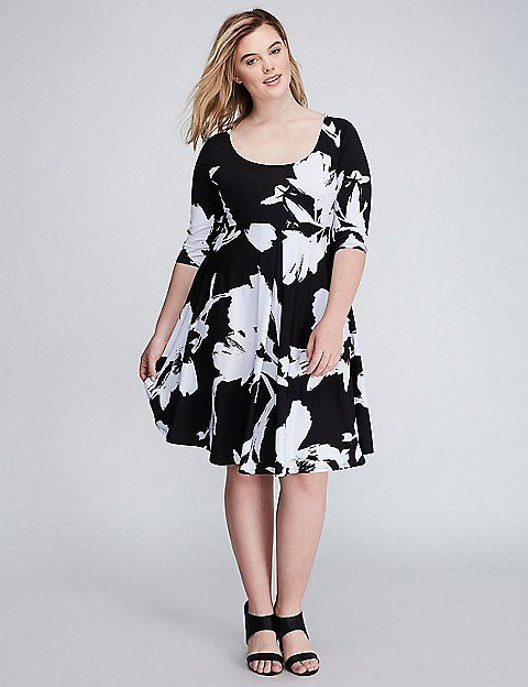 Fit & Flare Dress with 3/4 Sleeves | Lane Bryant