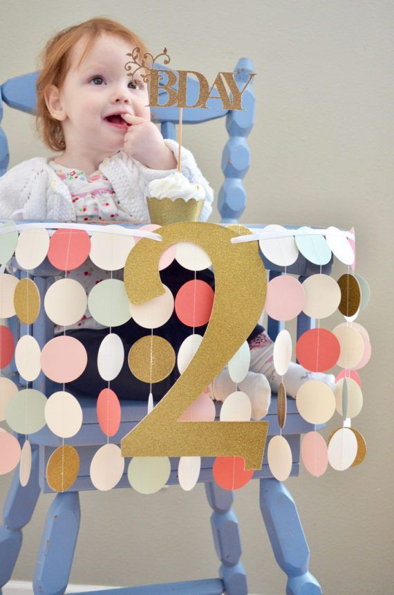 Blush Pink, Mint, Coral And Glitter Gold Highchair Birthday Banner   Sweet  Circles For Your Celebration Or Photo Prop