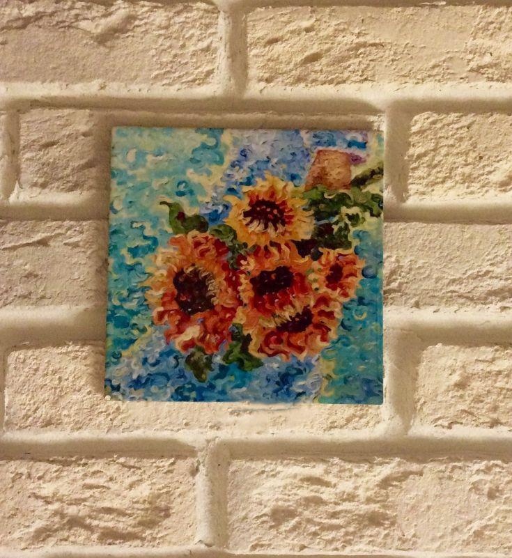 Tile, ceramic tile, sunflowers, sunflowers on tile, decorative tiles, design tile, interior tile, interior design, tile for houm, gifts by MArgoartsDesign on Etsy