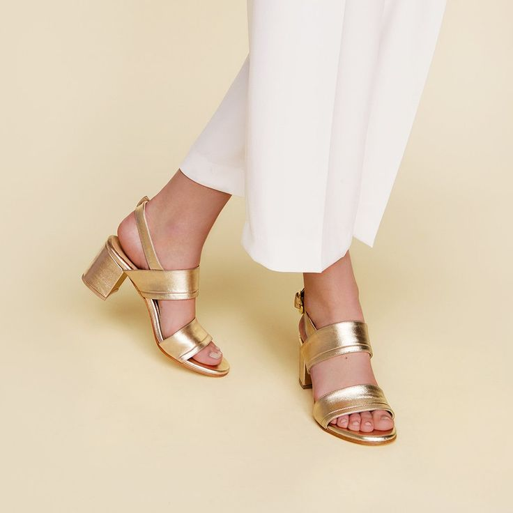The Slingback Sandal - gold leather womens heeled sandal - Poppy Barley