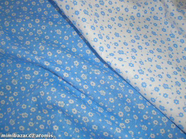 látka metráž modré kytičky  obě modrobílé kytičkovém látky - 50 cm od každé
