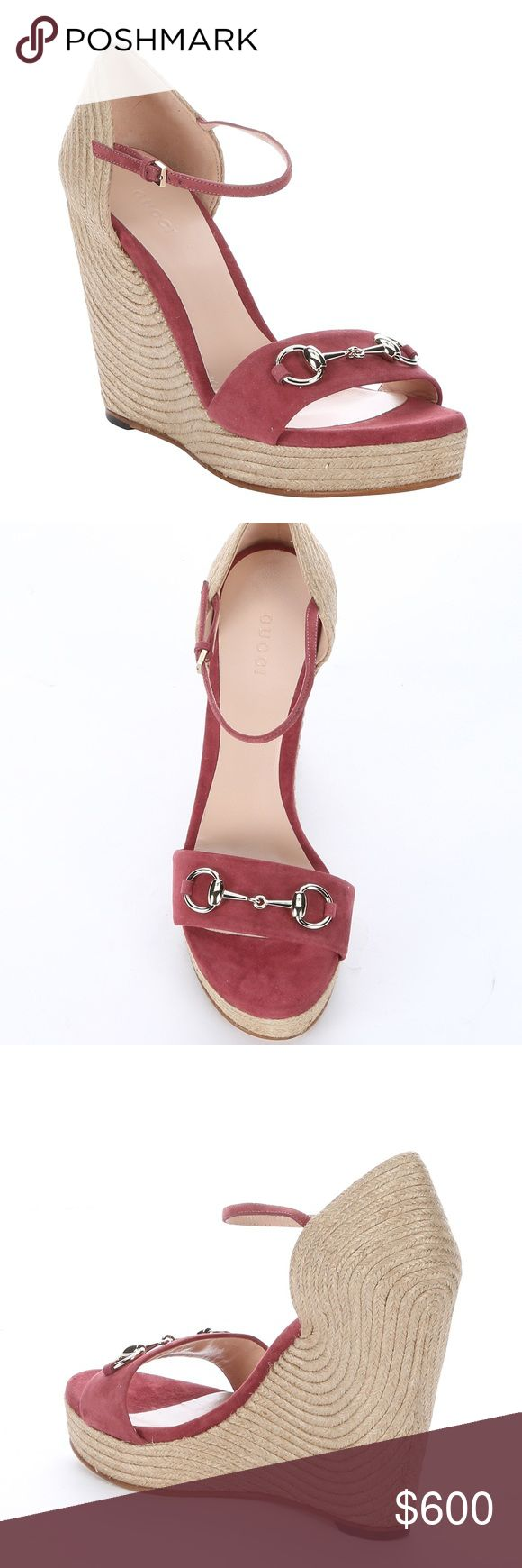 Gucci Suede and Jute Horsebit Detail Wedge Sandals New, never worn. Original box, dust bag included. Suede upper, leather insoles. Size US 7.5  More pictures coming. Original price on Gucci.com is $595 without taxes. Gucci Shoes Wedges
