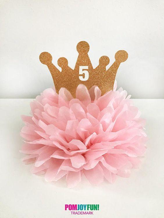 Krone-Mittelstück Pom, Tiara-Mittelstück, Prinzessin Birthday Decoration, Prinzessin-Mittelstück, benutzerdefinierte Prinzessin Cake Topper, Prinzessin