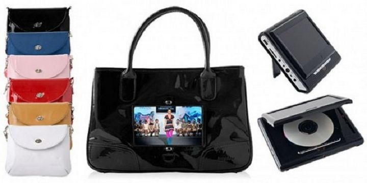 """Handbag TV    BagTV a designer bag made of genuine leather with built-in TV that is equipped with DVD player, and is about 199 pounds. Located behind the special transparent window in the front of the bag 7-inch flat screen allows the customer to view their favorite movies, shows, and photos directly from her handbag. Your built-in battery, """"gadget"""" is rated for 2.5 hours."""