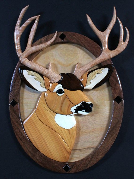 Mule Deer Buck  Intarsia Sculpture  Free by DeerMountainWoodArt, $255.00