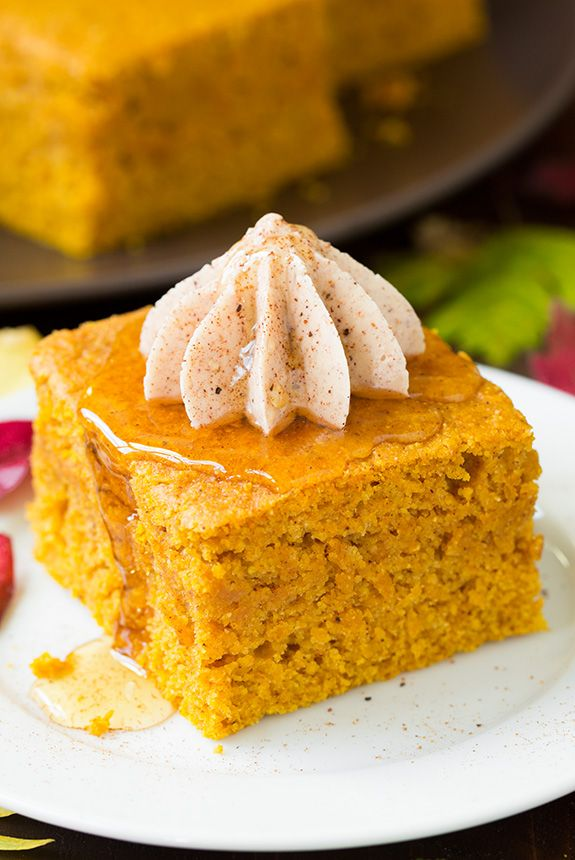 Pumpkin Cornbread with Cinnamon Honey Butter - this is the ULTIMATE fall cornbread! Everyone absolutely loved it!