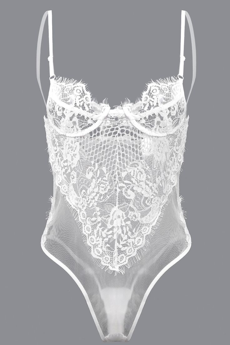 White Sexy Lace Hollow Out See-through Bodysuit with No Falsies