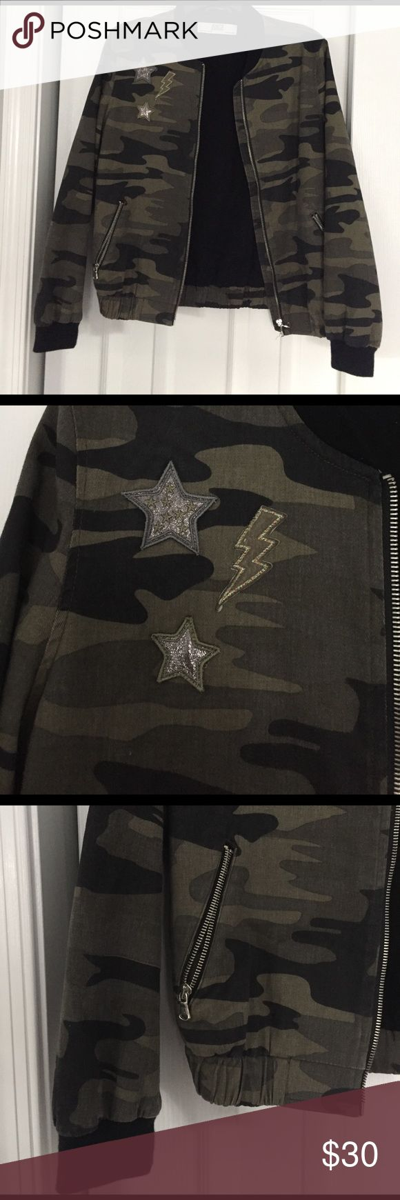 Military bomber with patches Lightweight army print bomber jacket with star patches. Zara Jackets & Coats
