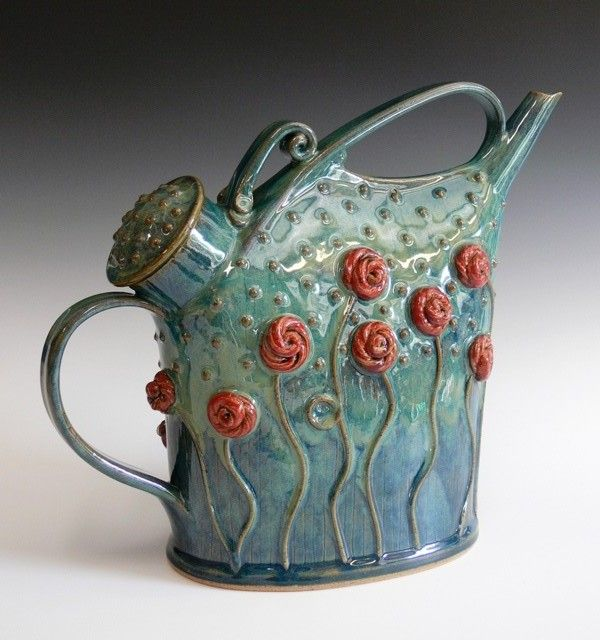 red roses teapot, Yvonne Brown