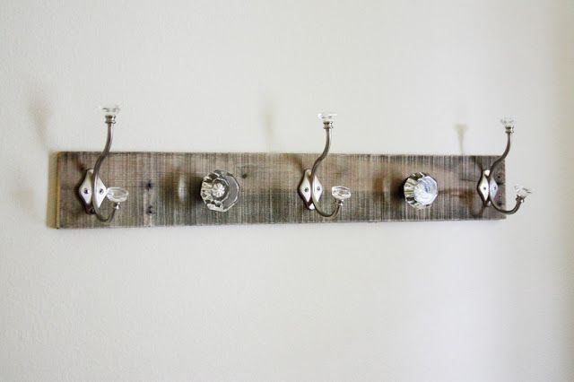 BeingBrook: Pallet Coat Rack {glass door knob repurpose}