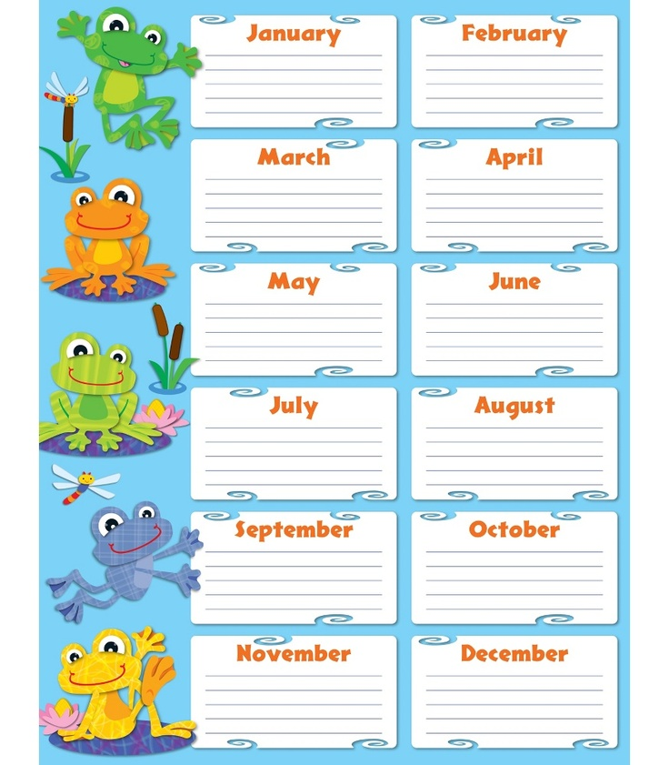 FUNky Frogs Birthday Chart | Classroom décor from Carson-Dellosa