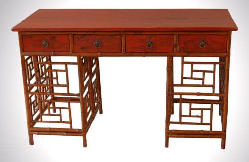 Chinese antique bamboo red lacquer desk chinoiserie for Asian furniture emeryville ca