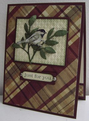 .Cards Design, Cards Ideas, Cards Scrapbook, Plaid Paper, Cards Masculine, Masculine Cards, Beautiful Seasons, Beautiful Birds, Paper Crafts