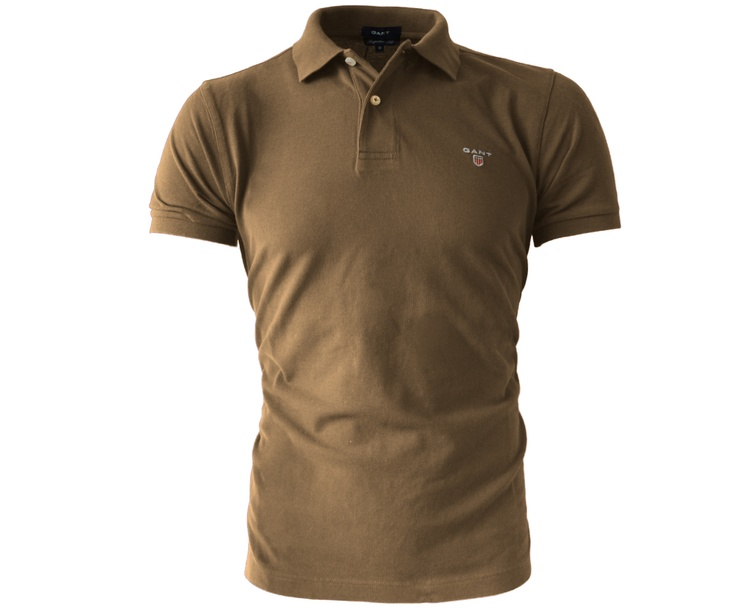 Gant GNH Solid Short Sleeve Polo Eagle Brown - Terraces Menswear