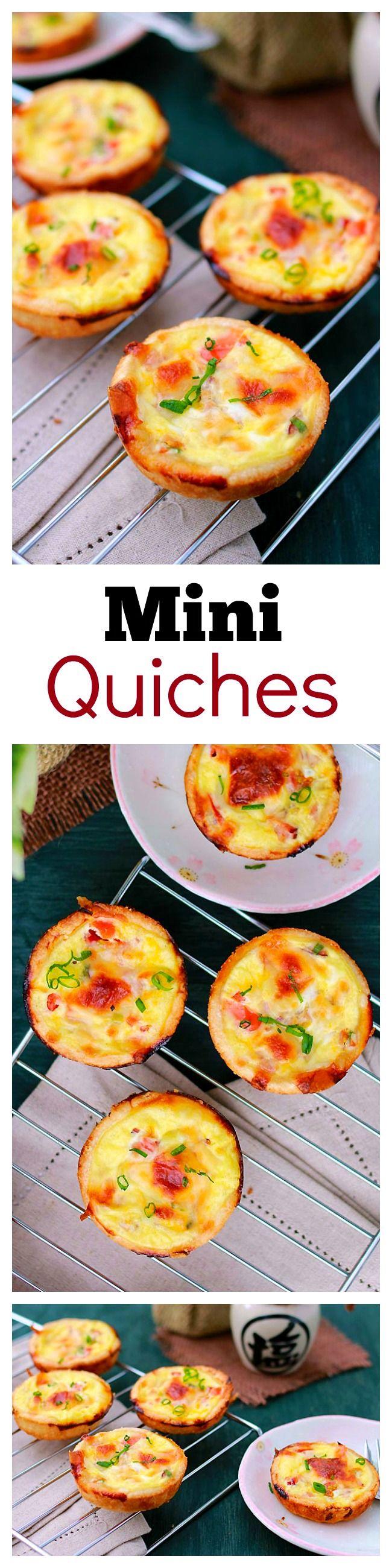Mini Quiche – the BEST  easiest quiche you'll ever make, in mini size. So creamy, rich, delicious with this fool-proof mini quiche recipe!!! | https://rasamalaysia.com #breakfast #recipe #brunch #easy #recipes