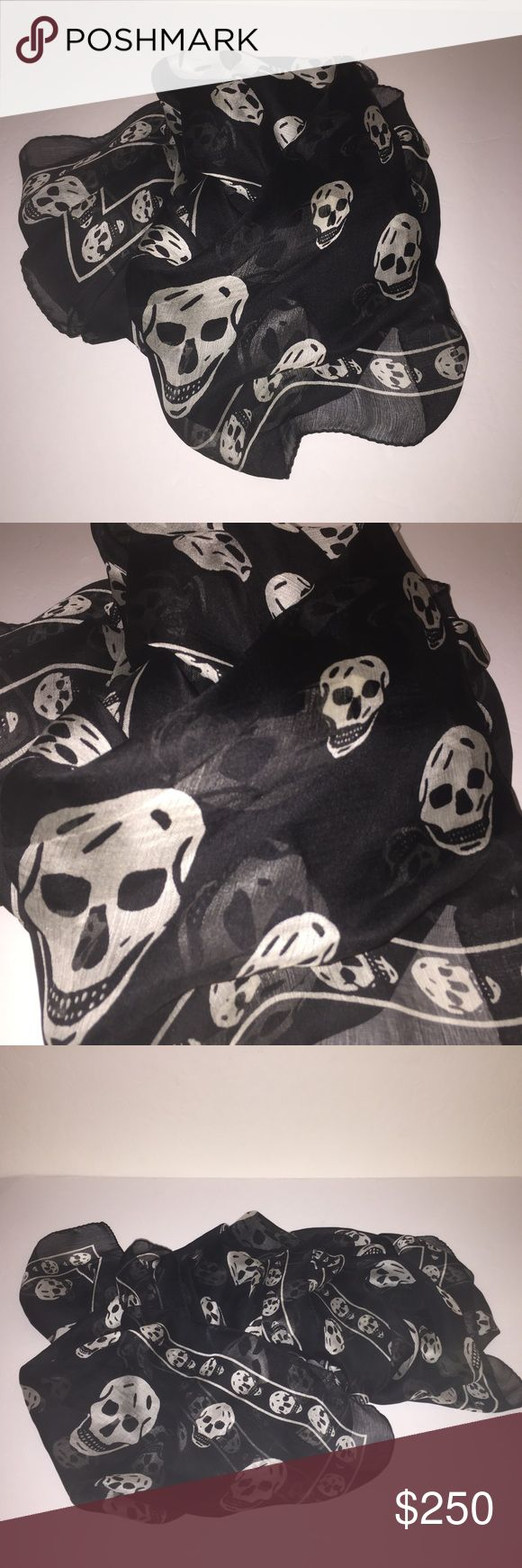 Alexander Mcqueen Black Silk Scarf Wrap Shawl New without tags 100% authentic unisex Mcqueen silk skull scarf , sorry no trades send offer Alexander McQueen Accessories Scarves & Wraps