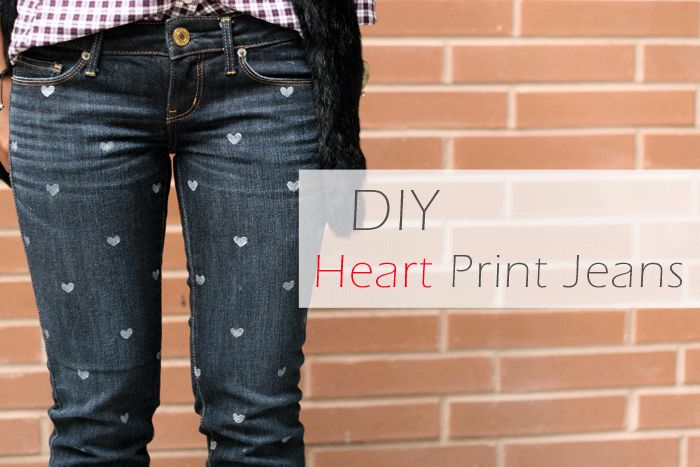 DIY heart print jeans, DIY heart denim