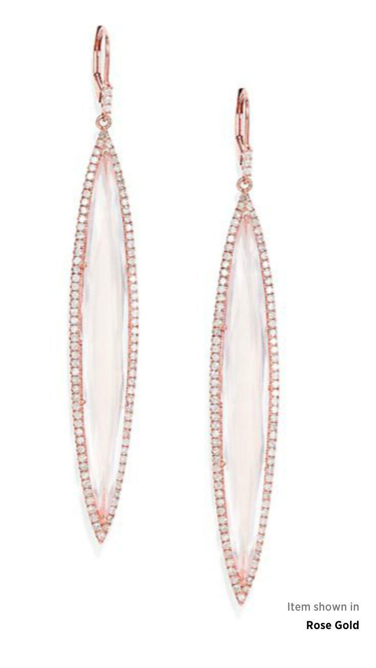 Meira T Women's Pink Diamond, Rose Quartz & 14k Rose Gold Drop Earrings