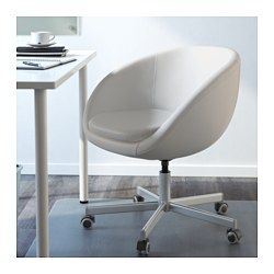 IKEA - SKRUVSTA, Swivel chair, Idhult white,  , , You sit comfortably since the chair is adjustable in height.The casters are rubber coated to run smoothly on any type of floor.