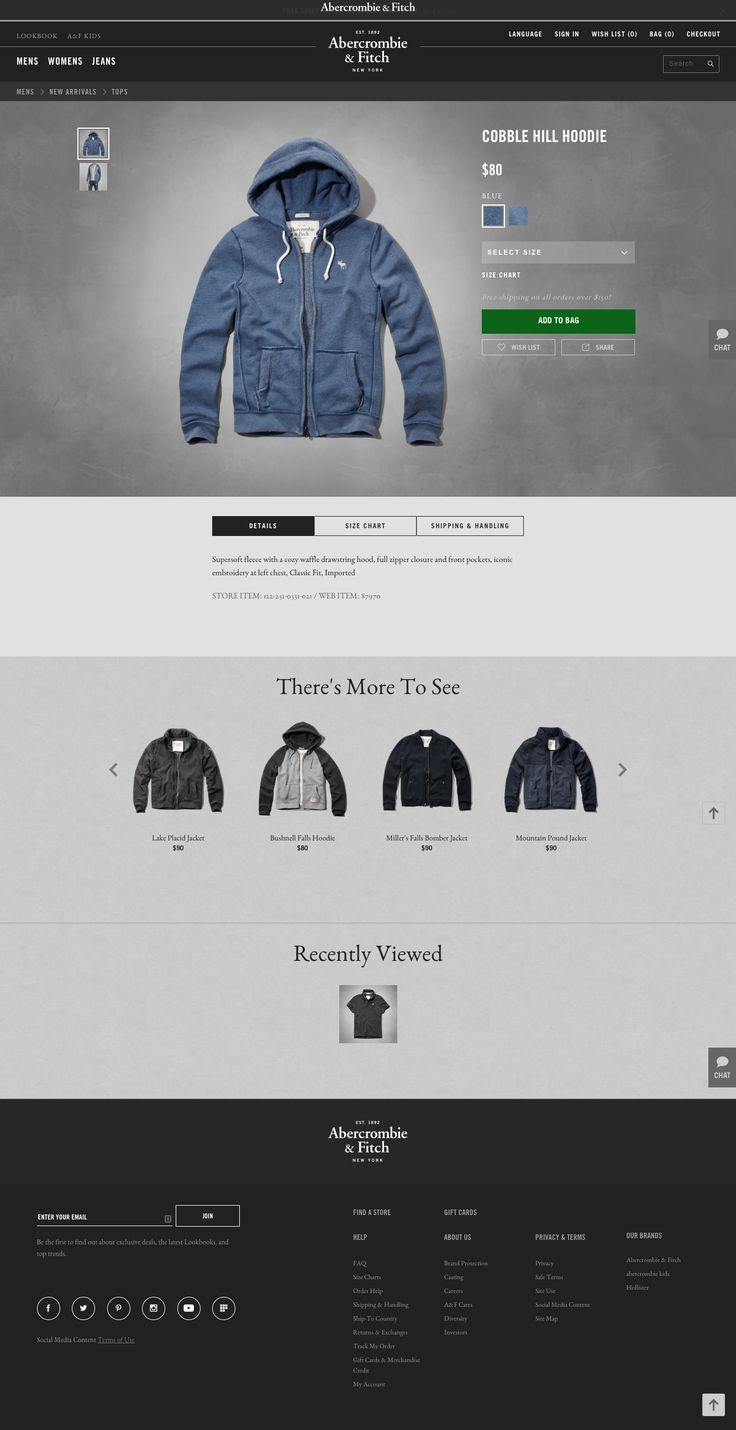 Product Detail (A&F) - color options - diff prod views - tabs for other info - related products and previously viewed