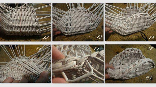 Если плести медленно и все время проверять ровность с разных сторон, то получается вполне правильная форма. Потом делаем загибку (фото 15 и 16). Обрезаем стойки не глубоко, остальное отрежем после покрытия лаком.
