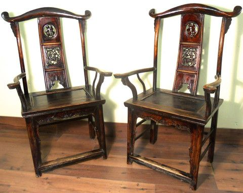 Antique Chinese High Back Arm Chairs 5911Pair Circa 1800