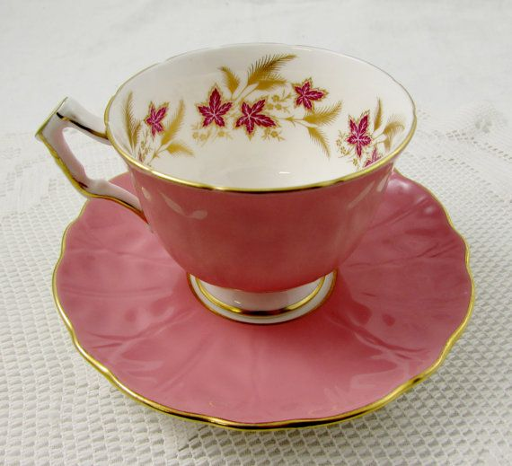Aynsley Pink Tea Cup and Saucer with Pink Flowers by TheAcreage