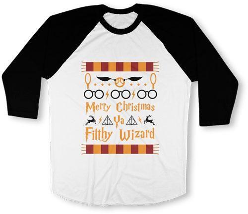 UNISEX BASEBALL TEE - Merry Christmas Ya Filthy Wizard - TEP-531