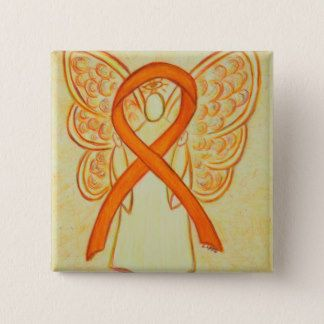 Orange Angel Awareness Ribbon Custom Art Pins - The orange awareness ribbon color means support for Multiple Sclerosis, Leukemia, Self Injury, Animal Cruelty, ADHD, Kidney Cancer, Chronic Obstructive Pulmonary Disease (COPD), Teen Dating Violence, Racial Tolerance/ Cultural Diversity and Underage Drinking awareness to name a few.