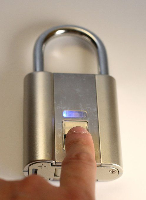 iFingerLock Fingerprint Biometric Padlock ($84.99) Your fingers are your keys! Just slide your finger to unlock instantly! Semiconductor slide sensor-based fingerprints or biometrics recognition technology. Super large 10-fingerprint storage, allowing up to 10 users to use the lock (one administrator and another 9 persons). No computer needed. Indoor use only. Powered by 2 AAA batteries. The lock retains all stored fingerprints even out of battery.