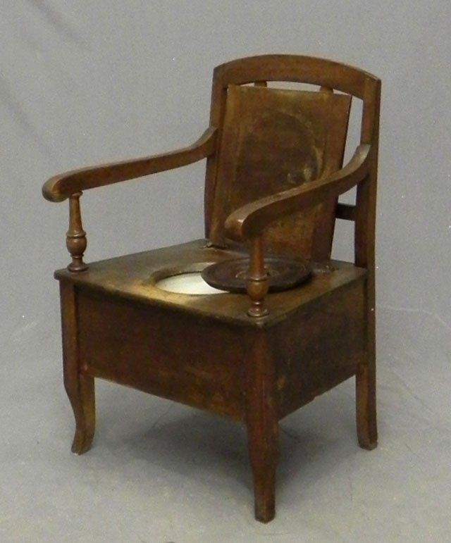Carved Walnut Commode Chair, 19th c., the back with vertical splats, the - 225 Best Chamber Pots And Commodes Images On Pinterest Baths
