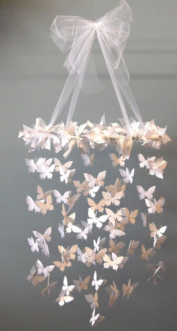 DIY Mobile Swarming Butterfly Chandelier.