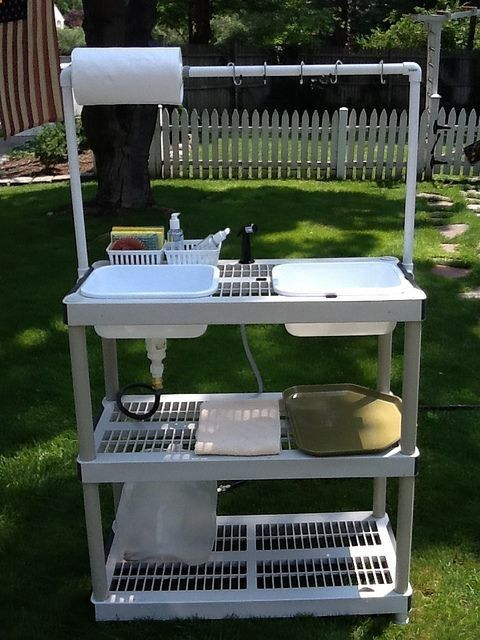 DIY Camp Kitchen w/Working Sink [Tutorial] : made from a stacking storage shelf unit   PVC pipe; the whole unit disassembles and stores flat in a small amount of space... very clever!!!