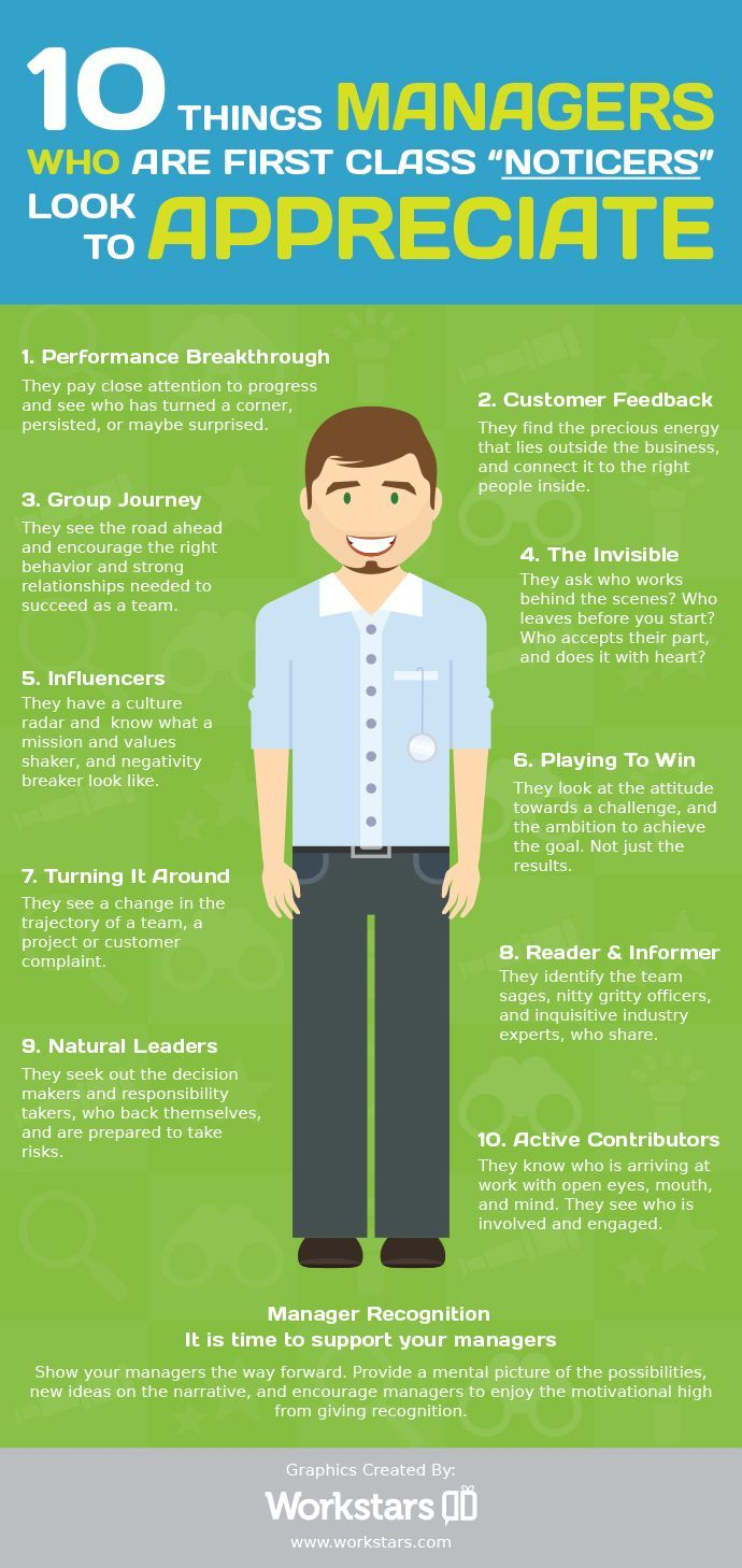 """Employee Recognition: Managers Who are First Class """"Noticers"""" #infographic #Employee #Bussiness"""