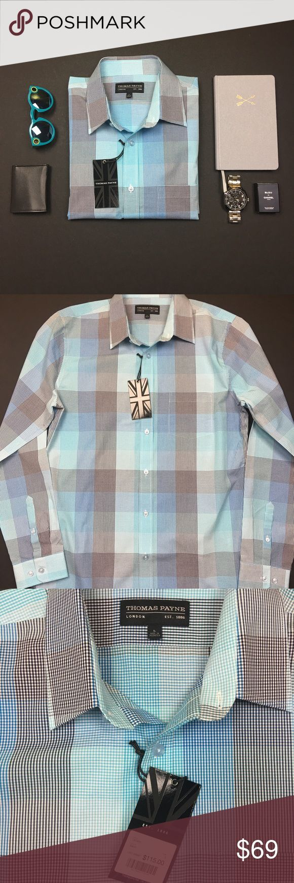 Thomas Payne Blue Striped Button Down Dress Shirt New with tags in Excellent Condition. No Trades. No PayPal. Smoke & Pet Free Home. Please Ask Questions. Like what you see but the price too high? Make an offer. Does not need cufflinks. Thomas Payne Shirts Dress Shirts